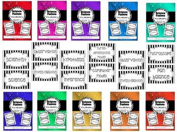 Science Fusion Units 1-10 Vocabulary BUNDLE