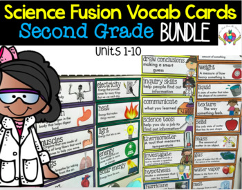 Science Fusion Vocabulary Cards Second Grade BUNDLE