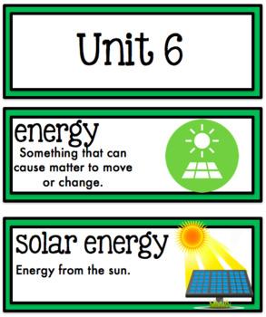 Science Fusion Vocabulary Cards Second Grade Unit 6