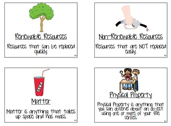 Science Fusion Vocabulary Cards with Pictures and Definitions - 4th Grade