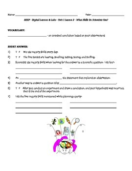 Science Fusion - worksheets for unit 1 digital lesson grade 4