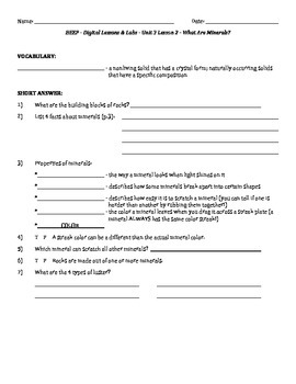 Science Fusion - worksheets for unit 3 digital lesson grade 4