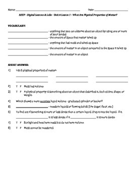 Science Fusion - worksheets for unit 4 digital lesson grade 4