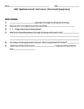 Science Fusion - worksheets for unit 6 digital lesson grade 4