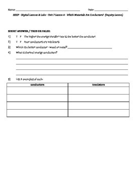 Science Fusion - worksheets for unit 7 digital lesson grade 4