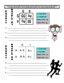 Science Genetics Work (Article, Punnett Square, Vocabulary Puzzle)