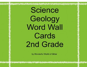 Science Geology Word Wall Cards