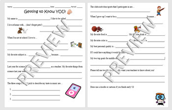 """Science """"Getting to Know You"""" Student Survey"""
