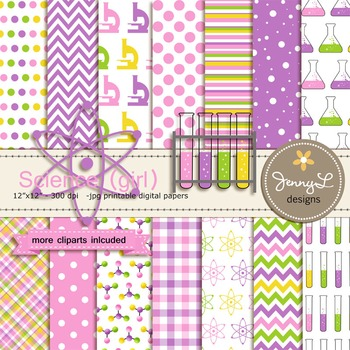 Science Girl digital paper and clipart