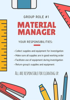Science Group Role and Tasks - Material Manager