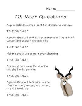 Science: Habitats and Communities - Oh Deer Game and Questions