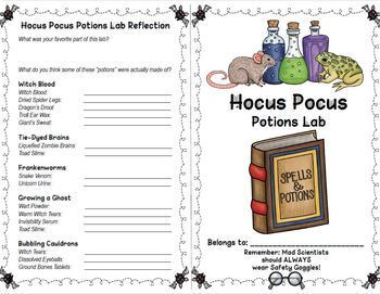 Science Halloween Wizard Potions Chemistry Stations Lab