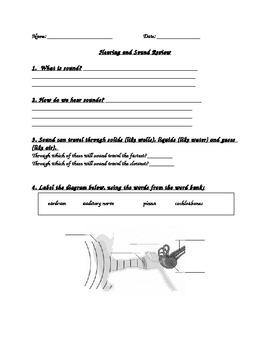 Science - Hearing and Sound Final Review