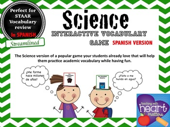 Science vocabulary game (STAAR Science Streamlined resource) in SPANISH