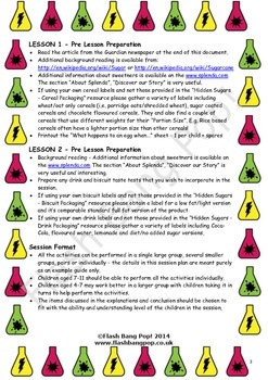 Science - Hidden Sugars - Detailed Lesson Plan (x2) for 4-11 Year Olds