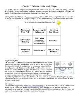 Science Homework Bingo
