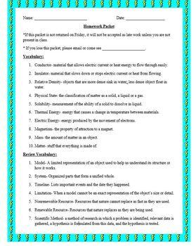 Science Homework Packet