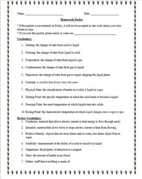 Science Homework Packet: Physical Science