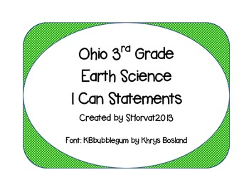 Earth Science I Can Statements