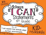 Science I Can Statements (Fourth Grade, Essential Standards)