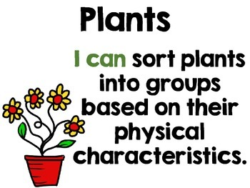 Science I Can Statements - Plants