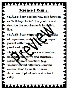 Science I Can Statements for Common Core State Standards Goal 12 Middle School