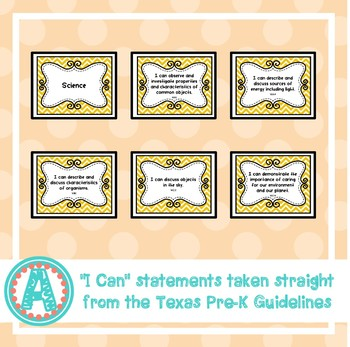 """Science """"I Can"""" Statements for Pre-K and Preschool"""
