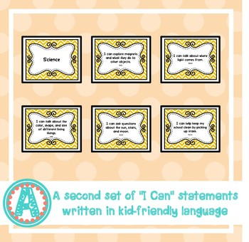 "Science ""I Can"" Statements for Pre-K and Preschool"