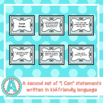 "Social Studies ""I Can"" Statements for Pre-K and Preschool"