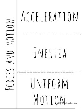 Forces and Motion Science INB Vocabulary