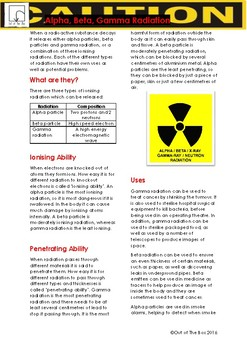 Science Information and Worksheet - Alpha, Beta, Gamma Radiation