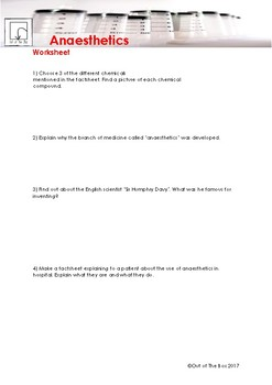 Science Information and Worksheet - Anaesthetics