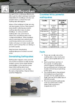 Science Information and Worksheet - Eathquakes