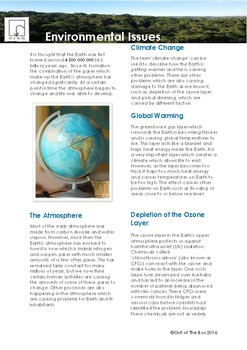 Science Information and Worksheet - Environmental Issues