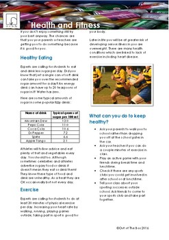 Science Information and Worksheet - Health and Fitness