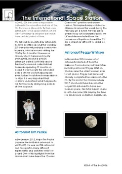 Science Information and Worksheet - International Space Station