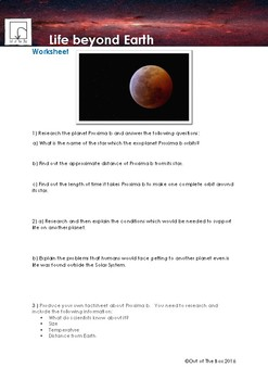 Science Information and Worksheet - Life Beyond Earth