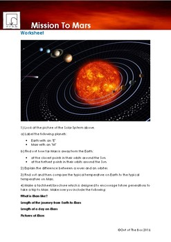 Science Information and Worksheet - Mission to Mars
