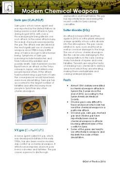 Science Information and Worksheet - Modern Chemical Weapons