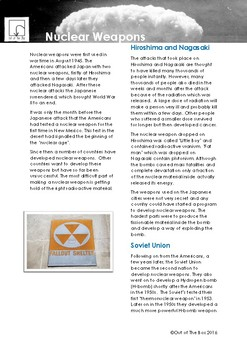 Science Information and Worksheet -Nuclear Weapons