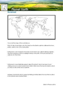 Science Information and Worksheet - Planet Earth