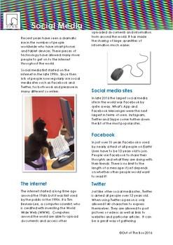 Science Information and Worksheet - Social Media