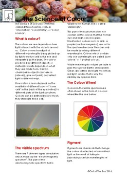 Science Information and Worksheet - The Science of Color