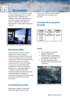 Science Information and Worksheet - Tsunamis