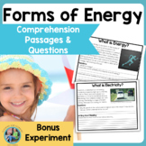 Forms of Energy   Science Reading Comprehension Passages a