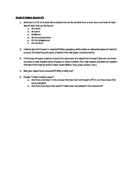 Science Inquiry Framework - Grade 5 - Matter - Ontario Curriculum