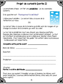 Science Inquiry Project (English and French versions)
