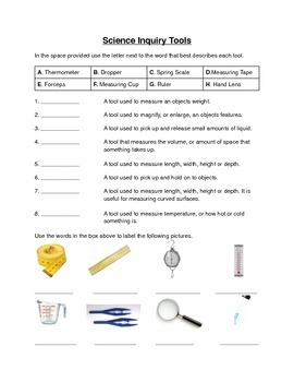 Worksheets Science Tools Worksheet science inquiry tools works by deans ink teachers pay worksheet