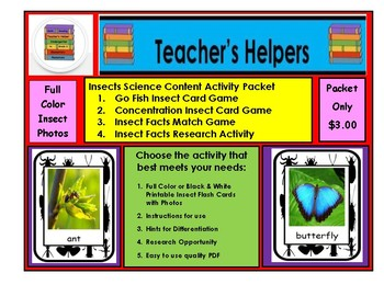Science Insects Color Photo Flashcards Games Centers Instructions Research