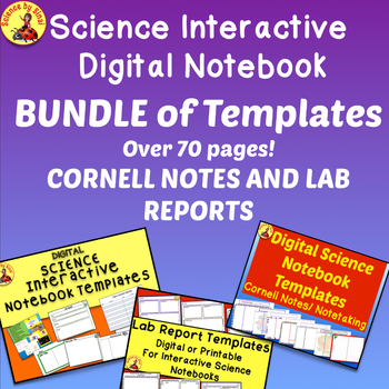 Science Interactive Digital Notebook BUNDLE OF TEMPLATES-Over 70 pages!